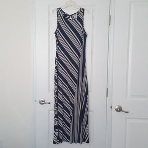 Bobeau Navy Striped Maxi Dress